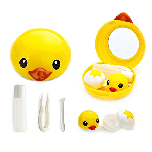 Finelyty Netter Gelber Enten-Kontaktlinsen-Kasten-tragbarer Reisespeicher-Halter-Behälter-Kasten Mit Spiegel Und Pinzette