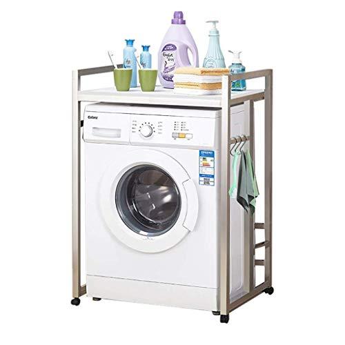 Wasmachinerek met wieltjes – roestvrij staal en badkamerplank – multifunctionele bodemverlenging