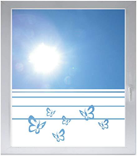 INDIGOS UG Sichtschutzfolie Glasdekorfolie Fensterfolie mit Motiv satiniert Blickdicht - w184 Schmetterlinge - 1000 mm Länge - 500 mm Höhe Streifen