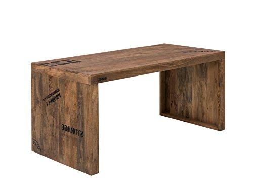 Woodkings® Schreibtisch oder Esstisch Hankey 160cm, Echtholz rustikal, Mango Holz, Arbeitstisch, Bürotisch mit Aufdruck Design Büromöbel Computertisch, Chefschreibtisch, auch als Esstisch