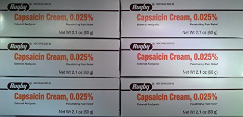 [6 Pack] Rugby Capsaicin 0.025% Cream Generic for Zostrix 2.1 Oz. (60gm) Pack of 6