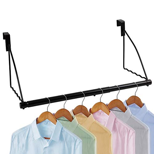 "Over The Door Closet Valet- Over The Door Clothes Organizer Rack and Door Hanger for Clothing or Towel, Home and Dorm Room Storage and Organization - Fits Doors up Till 1¾"" Thick (Black)"