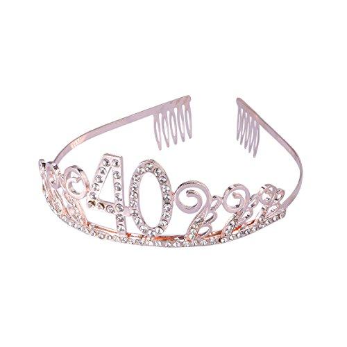 Frcolor Corona Cumpleaños 40 Años Diadema Cumpleaños Mujer Tiara Cristal con Peines(Or Rose)