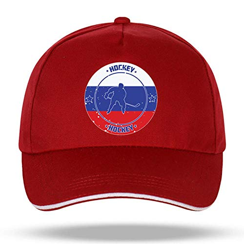Baseball Kappe Fashion Cap Men Women Russia Flag Hockey Sport Baseball Cap Cartoon Dad Hat Adjustable Sports Velcro Hat OneSize WineRed