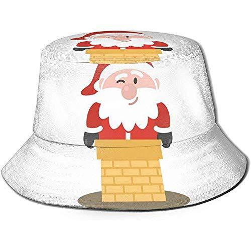 NA Unisex Bucket Hat Santa Claus Climbs Der Schornstein Bedruckte Outdoor Sun Hat Summer Travel Outdoor Cap Schwarz