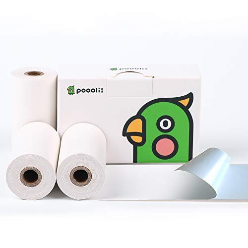 Sticker Paper for Thermal Pocket Printer-3 Rolls White Sticker Printer Paper
