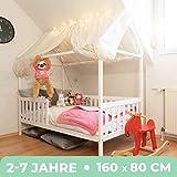 Alcube Hausbett 160x80 cm - stabiles Kinderbett mit Rausfallschutz und Lattenrost - weiß lackiertes Spielbett aus Pinienholz für Jungen und Mädchen - Geeignet für Vorhänge und...