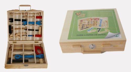 Giochi - Boîte à outils, ustensiles en bois 25,5 x22x6 avec 12 outils pour jeux d'enfants