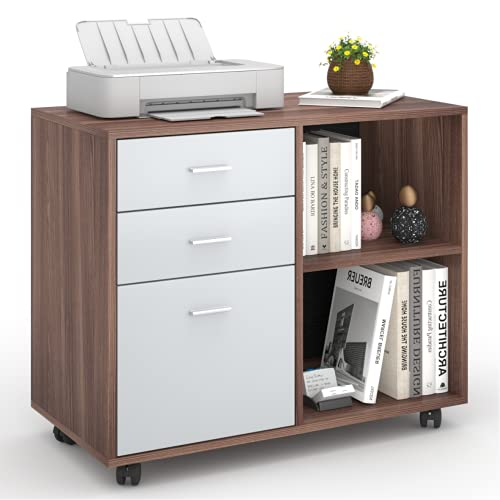 Lateral File Cabinets   Williamspace   Printer Stand Home Office File Cabinet with 3 Drawers & 2 Open Shelves