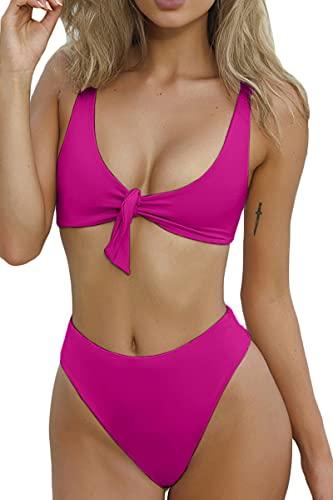 QINSEN Ladies Flowy Cropped Tank Brazilian Thong 2PCS Bikini Bathing Suit Rosy M