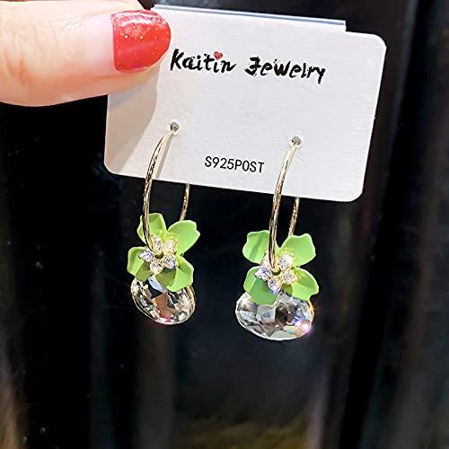 bjyxszd Regalo Cumpleaños Mujer, Pendientes de Cristal de 925 pétalos de Aguja de Plata, Pendientes Cortos de Taladro de Agua Dulce de Moda-Verde - Cristal