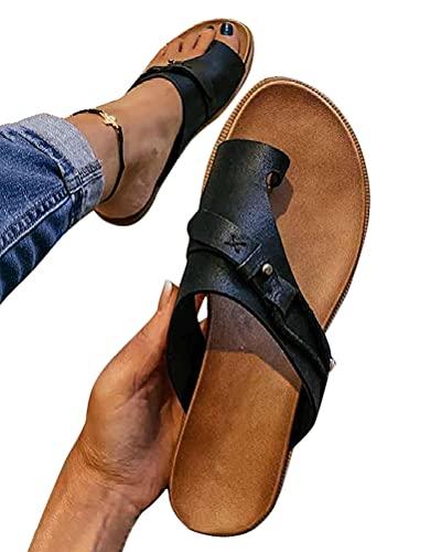 Osheoiso Damen Big Toe Hallux Valgus Bunion Splints Damensandalen Sommersandalen Flach Plattform Sandalen Unterstützung Plattform Schuhe für die Behandlung Strandsandalen Schwarz 37 EU