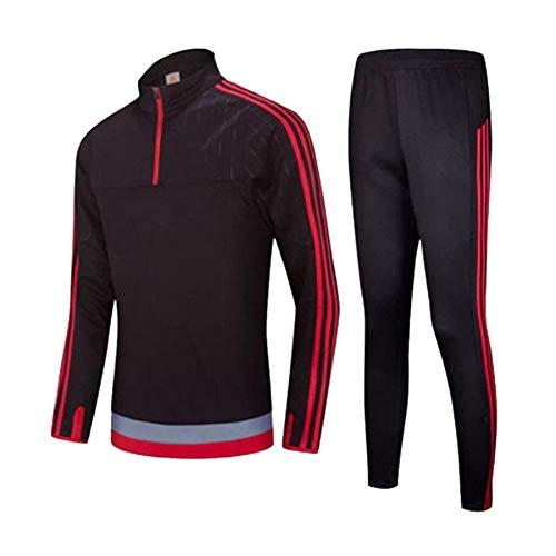 Ropa de fútbol para otoño e invierno, traje de manga larga para niños adultos, uniforme de equipo personalizado, media cremallera, chaqueta de entrenamiento de fútbol, color negro y rojo
