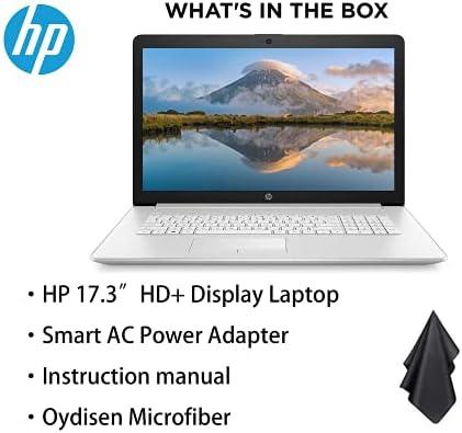 """Newest HP 17.3"""" HD+ Display Laptop, Intel Core i5-1035G1 Processor, 16GB RAM, 512GB SSD, DVD, Webcam, Numeric Keypad, WiFi, HDMI, Windows 10, Silver, Oydisen Cloth WeeklyReviewer"""