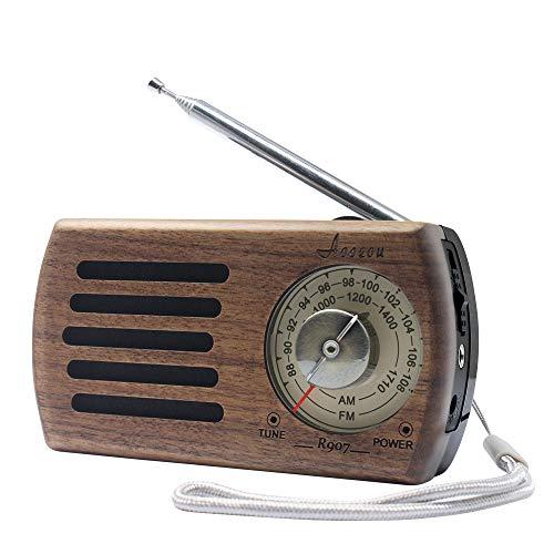 Radio Vintage Madera, Altavoz Radio Portátil Pequeñas Am/FM Personal Radio de Bolsillo con Buena recepción y Toma de Auriculares, Operación de batería por 2AA, Ideal para Trotar, Caminar y Viajar