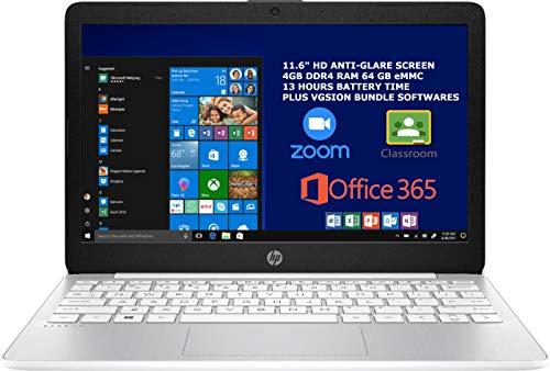 2020 HP Stream 11.6 inch Laptop Computer Intel Celeron N4020 Upto 2.8 GHz, 4GB RAM, 64GB eMMC Storage, Windows 10 Home, 13Hr Battery Life, Office 365 1Year, (Diamond White) Plus Vgsion Bundle Software