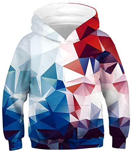 Ocean Plus Jungen Kapuzenpullover Bunt Teens Hoodie Kinder Langarm Pulli mit Kapuzen Sweatshirt Pullover (L (Körpergröße: 145-150cm), Rote und Blaue Geometrie)