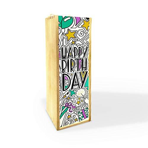 Cassa per Vino o Champagne, Wine Box Scatola Porta Bottiglie da Vino in Legno di Pino, Happy Birthday, cod Ali07