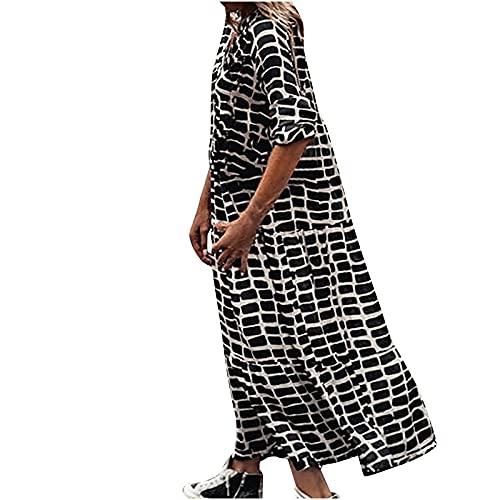 sunnymi Maxi-jurk voor dames, lange elegante jurk, casual lange mouwen, lange jurk, damesmode, V-hals, print, losse lange jurk, losse jurk, midi-hemdjurk