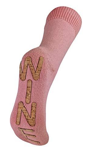 Sock Snob - Mujer Calcetines Antideslizantes Con Vino Para Casa | Rojo Blanco y Rosa Vino Designi | Calcetines para Inverno (37-40, Vino rosado)