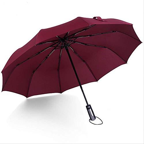 ZPF ParaguasResistente Al Viento Plegable Automático Paraguas Lluvia Mujeres Auto Grandes Paraguas A Prueba De Viento Lluvia para Hombres Recubrimiento Negro 10K ParasolBorgoña