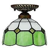 DALUXE Tiffany Lámpara de Techo Cúpula de Vidrio Multicolor Luminaria barroca Estilo mediterráneo para balcón Entrada de Dormitorio de Cocina E27 Verde Ø20 * H18CM 8InCH