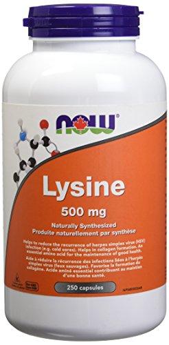 NOW L-Lysine 500mg 250 Capsules, 100 g