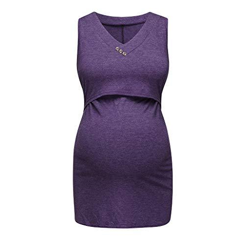 Ucoolcc Schwangere Top, Maternity-Shirt Schwangerschaft Stilltop, Frauen Baumwoll Maternity Rundhals Seite Geraffte umstandsshirt