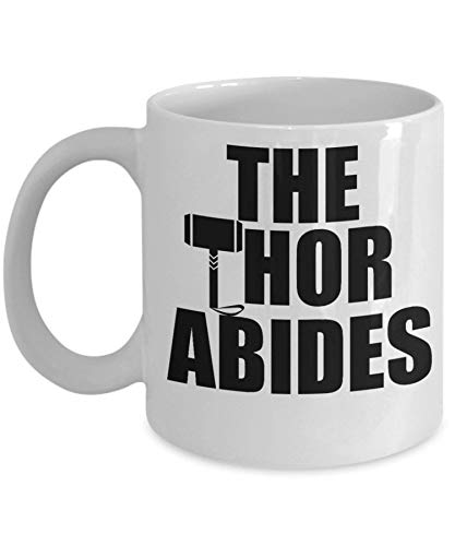 N\A Taza Grande de la Taza de Thor Abides. Divertido Thor Lebowski para fanáticos de Endgame y Lebowski Movies 11 Taza de café Taza Grande. Regalo