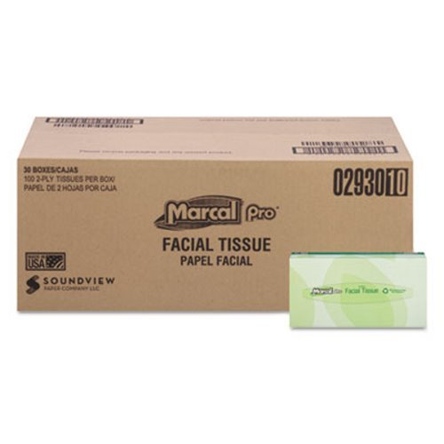 Marcal Pro Facial Tissues 2Ply White 100/Box 30 Boxes/Carton MRC2930