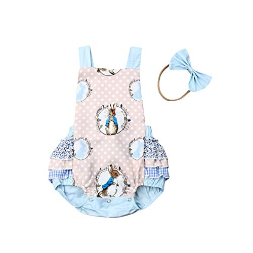 Newborn Baby Girl Easter Clothes Rabbit Romper Bunny Bodysuit Ruffled Jumpsuit Halter Playsuit Backless Sleeveless Outfit (12-18M, Blue)