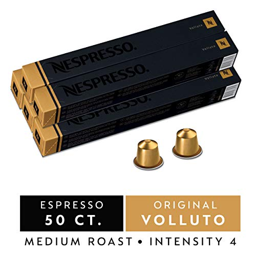 Nespresso Capsules OriginalLine, Volluto, Mild Roast Espresso Coffee, 50 Count Coffee Pods, Brews 1.35oz