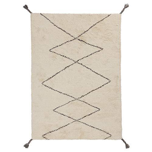 URBANARA 140x200 cm Teppich 'Beni' Naturweiß/Anthrazit-Melange — 100% Wolle — Ideal für Wohn-, Schlaf- oder Kinderzimmer — im Zickzack Muster und mit Abnehmbaren Fransen