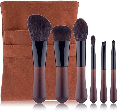 Pinceles de maquillaje 6pcs Cepillos de maquillaje de viaje de gama alta incluye cepillo de polvo, pincel de rubor mini gotitas de agua Conjunto de cepillos para la base de ojos de ocio ocular labio,