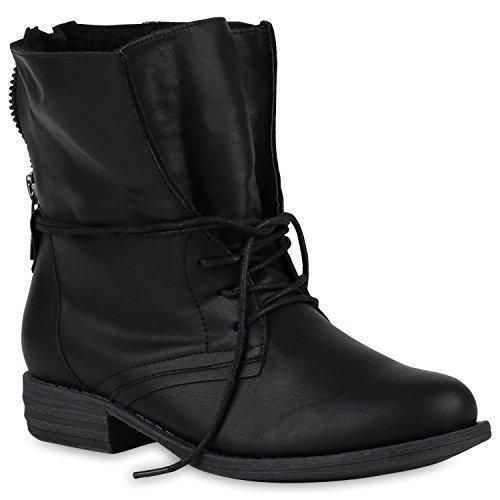 stiefelparadies Damen Stiefeletten Schnürstiefeletten Warm Gefütterte Stiefel Glitzer Winter Boots Zipper 147851 Schwarz Avelar 36 Flandell
