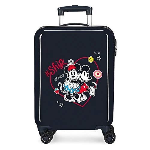 Disney Always Be Kind Maleta de Cabina Azul 38x55x20 cms Rígida ABS Cierre de combinación Lateral 34L 2,66 kgs 4 Ruedas Dobles Equipaje de Mano