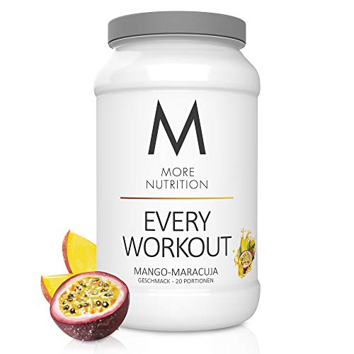 MORE NUTRITION Every Workout Fitness Booster in 13 Sorten - Mehr Kraft, Fokus, Ausdauer und bessere Regeneration dank Citrullin, Arginin, Theanin und Koffein – 700g Pulver (Mango Maracuja)