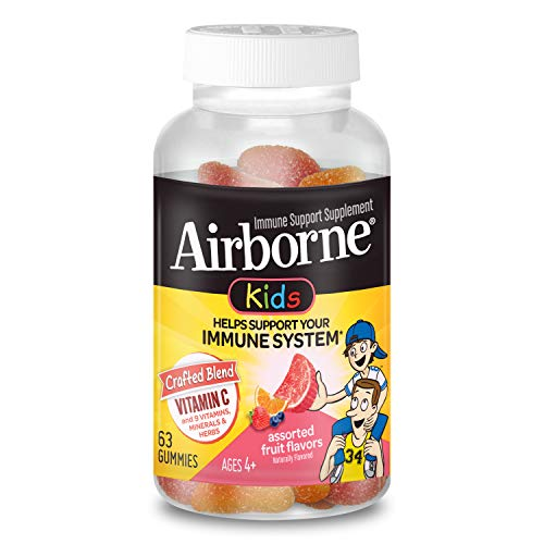 Vitamin C 500mg (per serving) - Airborne Kids Assorted Fruit Flavored Gummies (63 count in a bottle), Gluten-Free Immune Support Supplement With Vitamins A C E, Selenium, Echinacea & Ginger