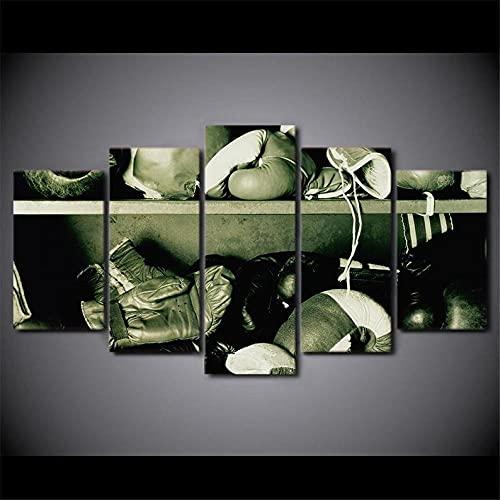 5 Teilige Leinwandbilder Painting Kunstdruck Boxhandschuhe Sports Gym Bilder auf Leinwand 5 Teile Leinwanddrucke Wohnzimmer Wohnkultur 100X55Cm