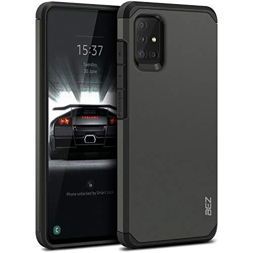 BEZ Hülle für Samsung Galaxy A51 Hülle, Handyhülle Tasche Stoßfestes Kompatibel für Samsung A51, [Heavy Duty Serie] Outdoor Dual Layer Armor Hülle Handy Schutzhülle Robuste, Grau