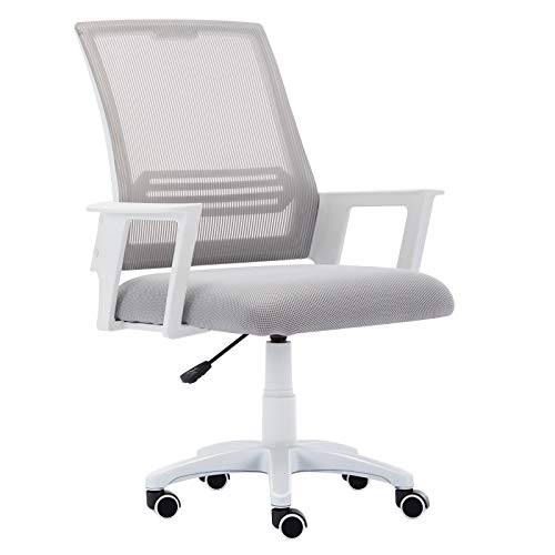 JL Comfurni Mesh Desk Chair Ergonomic Office Chair Medium Back 360°Swivel Cheap Computer Chair Height Adjustment with Mesh Seat Grey