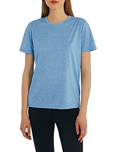 Woolicity Damen T-Shirt Kurzarm Yoga Tops Casual Sport Shirt Running Fitness Shirts Sportbekleidung Kurzarm Oberteile Top Hellblau XL