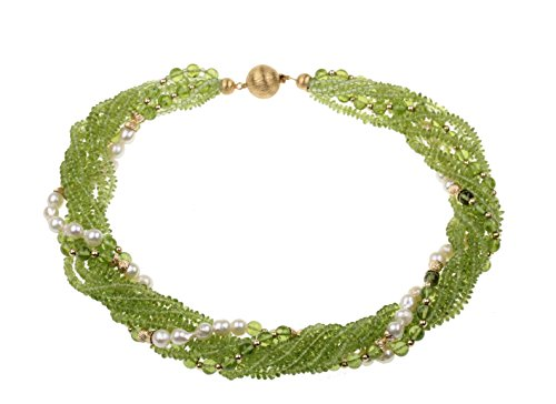 c-c Damen Collier – Edelstein/Peridot grün-olivgrün, Zuchtperlen weiß/Neun Ketten ineinander gedreht / 14 Karat Gelb Gold – Länge 45cm
