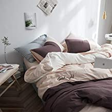 WISHE HOMESTT Solid Color Luxury 4 Piece Duvet Cover Bed Set -Double Bedding Sets Sheet Set Soft Flannelette Duvet Cover Set-Cream White-Queen