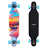 ENKEEO 40 Inch Drop-Through Longboard Skateboard Complete Cruiser for Carving Downhill Cruising Freestyle Riding - Painting