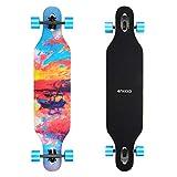 ENKEEO Longboard 9 Strati di Acero Flessibile Skateboard Drop Through 104cm Cuscinetti ABEC-11 per...
