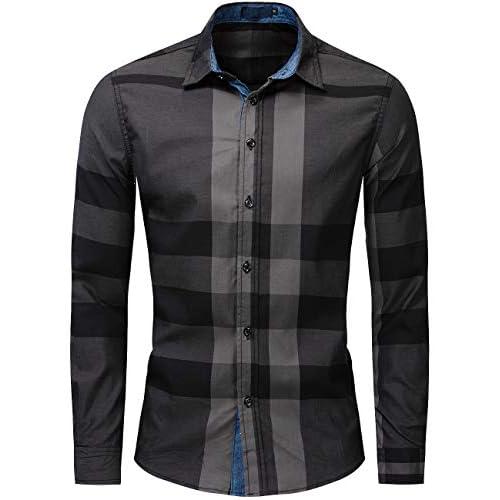 Pinkpum Mens Long Sleeve Checked Shirt Cotton Plaid Shirt Business Casual Dress British Stylish Classic Shirt Regular Fit
