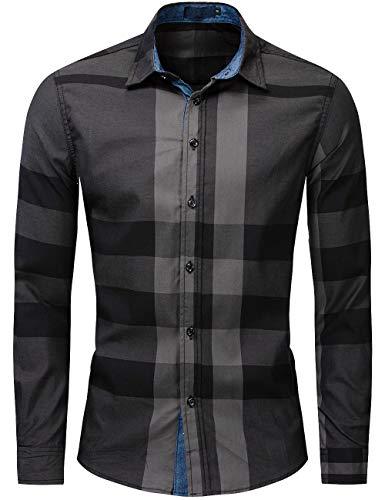 Camisas de Hombre Camisa a Cuadros Camisas de Vestir Camisa Casual Slim Fit Manga Larga para Hombres de Algodón M-3XL (Marine, M)