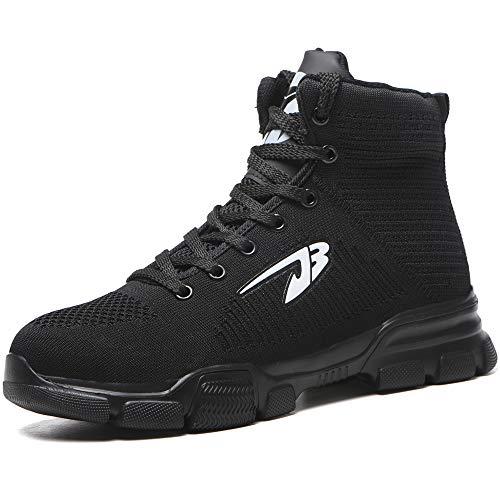MAKEIIT Black Steel Toe Shoes for Men Composite-Toe Shoes Outdoor Construction Shoe, Steel Cap Mens Safety Shoes Slip Resistant Steel Toes