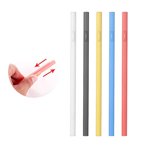 Slide Apart Detachable Drinking Straw – Slide Open for Easy Cleaning, Reusable Straws, Eco Friendly BPA free, Easy to Clean, No Brush Needed, ABS Plastic Straw for Bottle, Cup, Tumbler (5 colors)